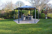 Image of Palram 14 ft.Monaco Aluminum Frame Hexagonal Gray Gazebo - The Better Backyard