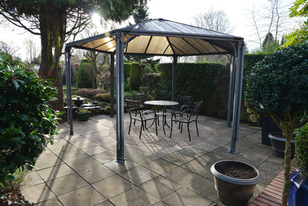 Palram 14 ft.Monaco Aluminum Frame Hexagonal Gray Gazebo - The Better Backyard
