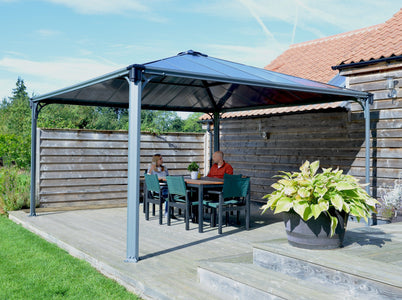 Palram 14 x 14 ft. Aluminum Frame Hard Top Gray Bronze Gazebo - The Better Backyard