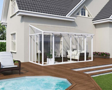 Palram SanRemo 10x14 Patio Enclosure Kit White with PC Roof - The Better Backyard
