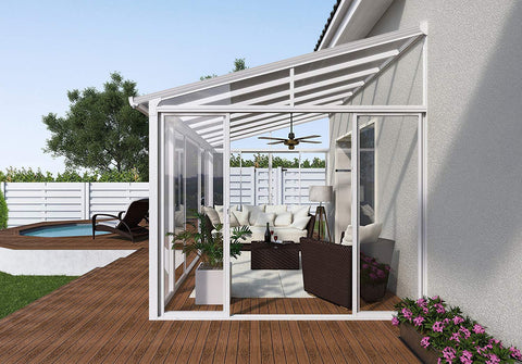Palram SanRemo 13x14 Patio Enclosure Kit White with PC Roof - The Better Backyard