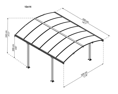 Palram Tucson Gazebo with Polycarbonate Roof Gazebo Palram