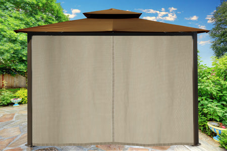 Paragon 10x12 Barcelona Cocoa Top with Privacy Curtains and Netting Gazebo - The Better Backyard