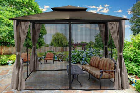 Paragon 10x12 Barcelona Grey Top with Privacy Curtains and Netting Gazebo - The Better Backyard