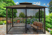 Image of Paragon 10x12 Barcelona Grey Top with Privacy Curtains and Netting Gazebo - The Better Backyard