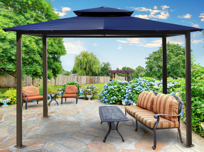 Paragon 10x12 Barcelona Navy Top with Privacy Curtains and Netting Gazebo - The Better Backyard