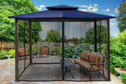 Image of Paragon 10x12 Barcelona Navy Top with Privacy Curtains and Netting Gazebo - The Better Backyard