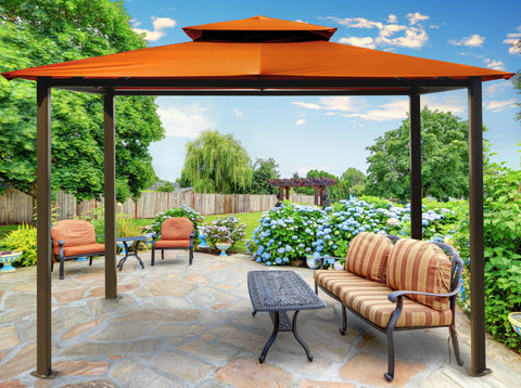 Paragon 10x12 Barcelona Rust Top with Privacy Curtains and Netting Gazebo - The Better Backyard