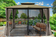 Image of Paragon 10x12 Barcelona Sand Top with Privacy Curtains and Netting Gazebo - The Better Backyard