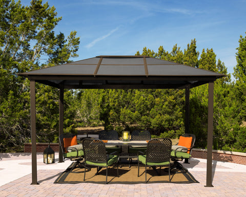 Paragon 10x13 Madrid Hard Top with Netting Gazebo - The Better Backyard