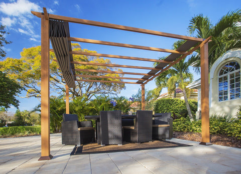 Image of Paragon 11x11 Florence Aluminum Canadian Cedar Finish & Cocoa Color Canopy Pergola - The Better Backyard