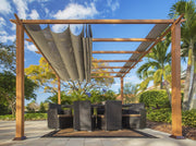 Image of Paragon 11x11 Florence Aluminum Canadian Cedar Finish & Sand Color Canopy Pergola - The Better Backyard