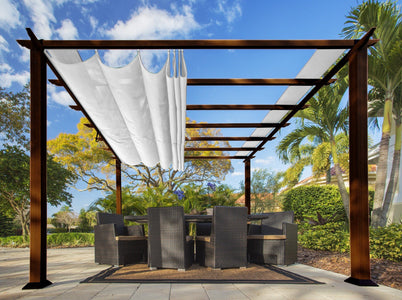 Paragon 11x11 Florence Aluminum Chilean Wood Finish & Beach White Canopy Pergola - The Better Backyard