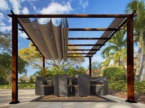 Paragon 11x11 Florence Aluminum Chilean Wood Finish & Cocoa Color Canopy Pergola - The Better Backyard