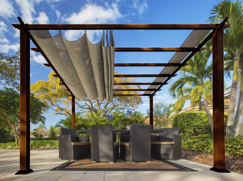 Image of Paragon 11x11 Florence Aluminum Chilean Wood Finish & Sand Color Canopy Pergola - The Better Backyard
