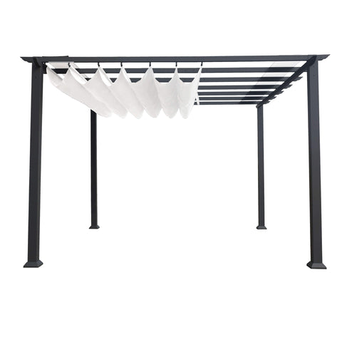 Paragon 11x11 Grey Aluminum with Beach White Convertible Canopy Pergola - The Better Backyard