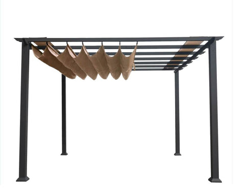 Paragon 11x11 Grey Aluminum with Cocoa Convertible Canopy Pergola - The Better Backyard