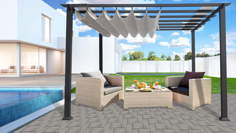 Image of Paragon 11x11 Grey Aluminum with Silver Convertible Canopy Pergola - The Better Backyard