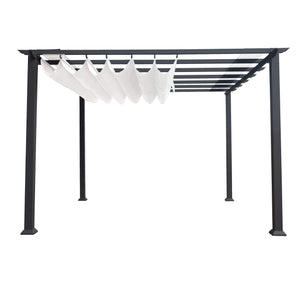 Paragon 11x11 Grey Aluminum with Silver Convertible Canopy Pergola - The Better Backyard