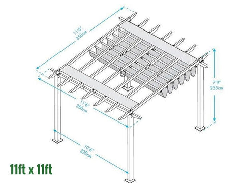 Image of Paragon 11x11 Pergola Canadian Cedar Frame and Silver Canopy Pergola Paragon-Outdoor