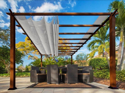 Paragon 11x11 Pergola Chilean Ipe Frame and Silver Canopy Pergola Paragon-Outdoor