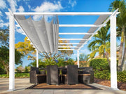 Image of Paragon 11x11 Pergola White Frame and Silver Canopy Pergola Paragon-Outdoor