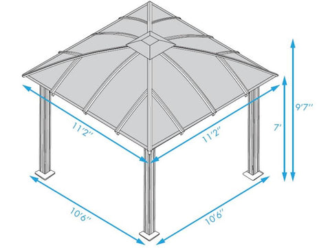 Paragon 11x11 Siena Hard Top with Sliding Screen Gazebo - The Better Backyard