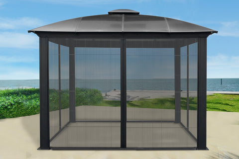 Image of Paragon 11x11 Siena Hard Top with Sliding Screen Gazebo - The Better Backyard