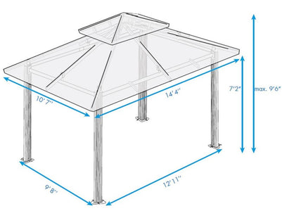 Paragon 11x14 Kingsbury Gazebo Cocoa Sunbrella Roof Top with Curtains & Netting - The Better Backyard
