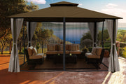 Image of Paragon 11x14 Kingsbury Gazebo Cocoa Sunbrella Roof Top with Curtains & Netting - The Better Backyard