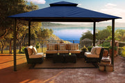 Image of Paragon 11x14 Kingsbury Gazebo Navy Roof Top with Curtains & Netting - The Better Backyard