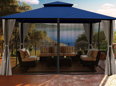 Paragon 11x14 Kingsbury Gazebo Navy Roof Top with Curtains & Netting - The Better Backyard