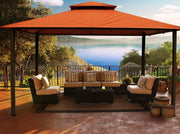 Image of Paragon 11x14 Kingsbury Gazebo Rust Sunbrella Roof Top with Curtains & Netting - The Better Backyard
