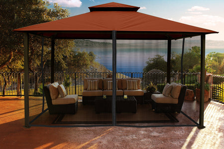Paragon 11x14 Kingsbury Gazebo Rust Sunbrella Roof Top with Curtains & Netting - The Better Backyard