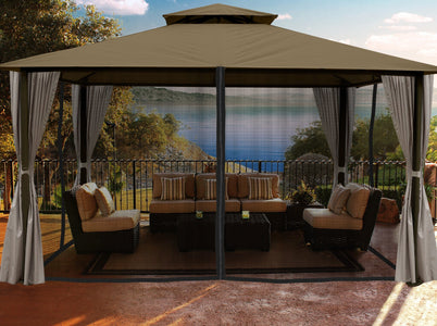 Paragon 11x14 Kingsbury Gazebo Sand Roof Top with Curtains & Netting - The Better Backyard
