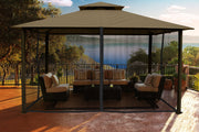 Image of Paragon 11x14 Kingsbury Gazebo Sand Roof Top with Curtains & Netting - The Better Backyard
