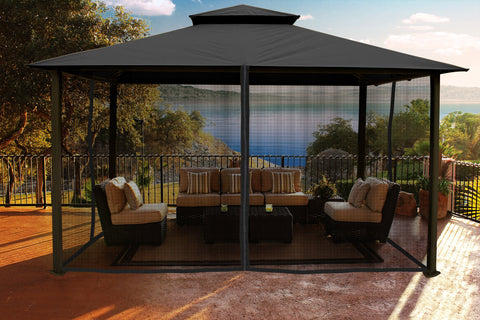 Paragon 11x14 Kingsbury Grey Roof Top with Curtains & Netting - The Better Backyard