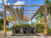 Image of Paragon 11x16 Florence Aluminum Canadian Cedar Finish & Sand Color Canopy Pergola - The Better Backyard