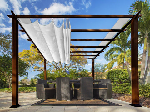 Paragon 11x16 Florence Aluminum Chilean Wood Finish & Beach White Canopy Pergola - The Better Backyard