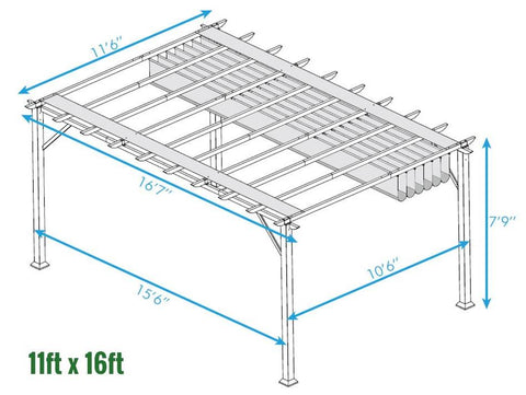 Paragon 11x16 Florence Aluminum Chilean Wood Finish & Cocoa Color Convertible Canopy Pergola - The Better Backyard