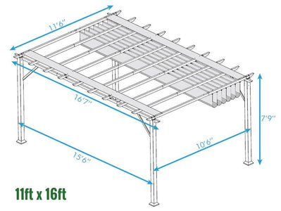 Paragon 11x16 Florence Aluminum Chilean Wood Finish & Sand Color Convertible Canopy Pergola - The Better Backyard