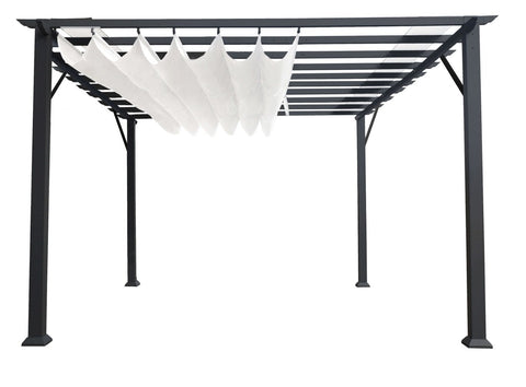 Paragon 11x16 Grey Aluminum with Beach White Canopy Pergola - The Better Backyard