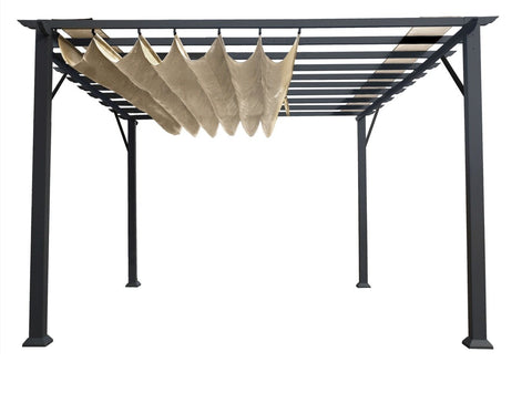 Paragon 11x16 Grey Aluminum with Sand Canopy Pergola - The Better Backyard