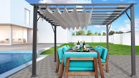 Image of Paragon 11x16 Grey Aluminum with Silver Canopy Pergola - The Better Backyard