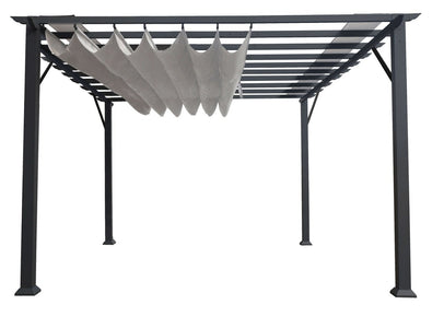 Paragon 11x16 Grey Aluminum with Silver Canopy Pergola - The Better Backyard