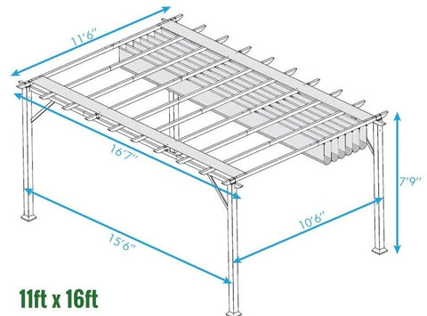Paragon 11x16 Pergola White Frame and Silver Canopy Pergola Paragon-Outdoor