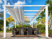 Image of Paragon 11x16 Pergola White Frame and Silver Canopy Pergola Paragon-Outdoor