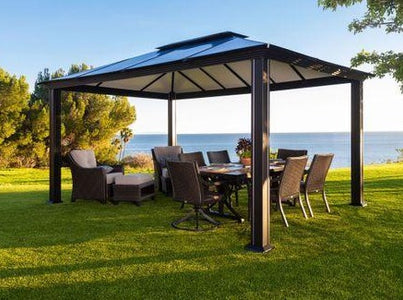 Paragon 11x16 Santa Monica Hard Top with Netting Gazebo - The Better Backyard