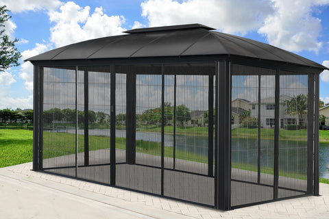 Paragon 11x16 Siena Hard Top with Sliding Screen Gazebo - The Better Backyard