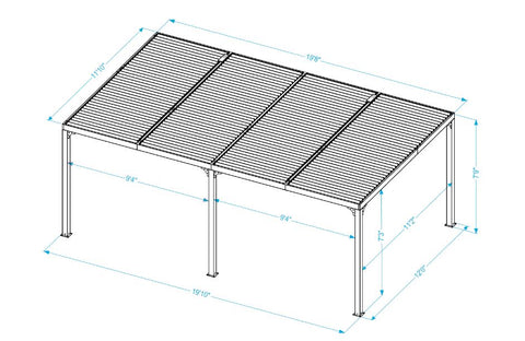 Paragon 12x20 Novara with Louvered Canopy Pergola Pergola Paragon-Outdoor
